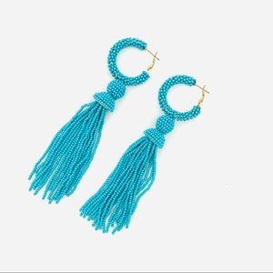 Turquoise Bead Hoop Tassel Drop Latchback Earring